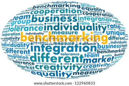 Benchmarking info-text graphics and arrangement concept (word cloud) in white background
