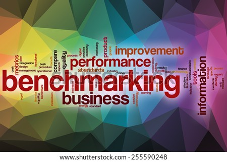 Benchmarking word cloud concept with abstract background - stock photo
