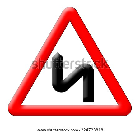 Bend road traffic sign isolated over white background - stock photo
