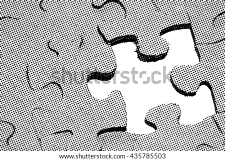Benday dot illustration of a jigsaw puzzle with one missing piece.