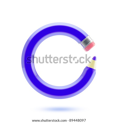 Bended in a circle blue pencil isolated on white