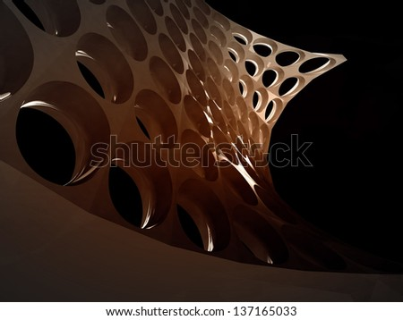 bended mesh with holes on black wallpaper illustration