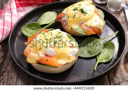benedict egg with salmon and poached egg - stock photo