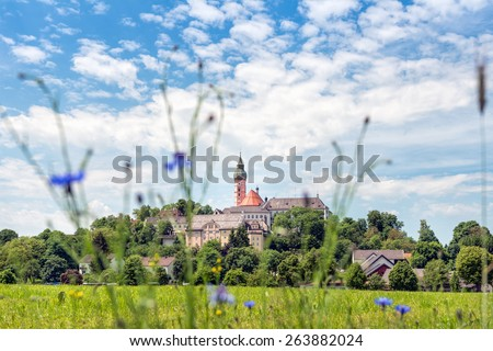 Benedictine abbey of Andechs - Panorama The Benedictine abbey of Andechs is a place of pilgrimage east of the Ammersee (near Munich) in Upper Bavaria, Germany. - stock photo