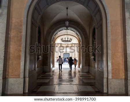 Benedictine monastery of Montserrat (Catalonia-Spain). Region of Bages (Barcelona) at a height of 720 meters above sea level. March 2016 - stock photo