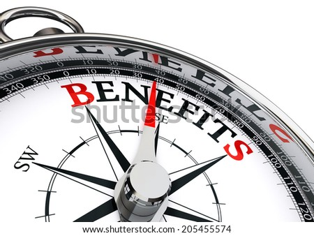 benefits conceptual compass isolated on white background - stock photo