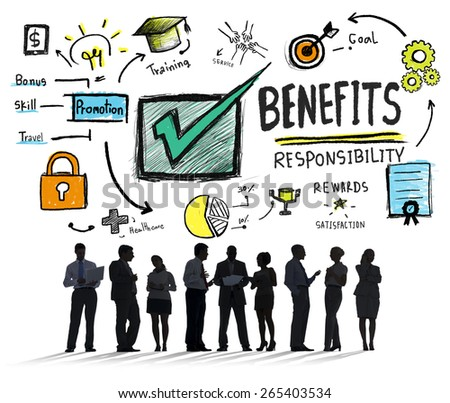 Benefits Gain Profit Earning Income Business Communication Concept - stock photo