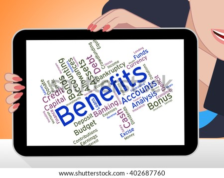 Benefits Word Meaning Rewards Award And Words  - stock photo