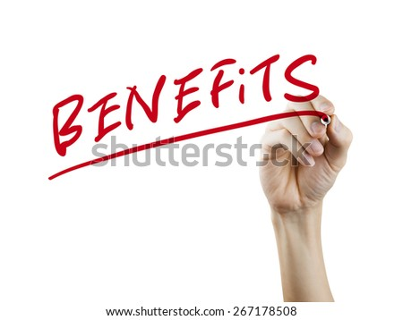 benefits word written by hand on a transparent board - stock photo