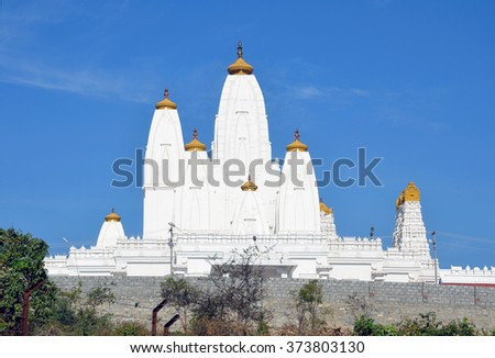 BENGALURU, INDIA - JANUARY 31 2016: Sri Dwadasha Jyotirlinga Temple is a Hindu temple that is situated on the hill and one of the most magnificent and gigantic temples in Karnataka state in India.