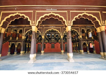 BENGALURU, INDIA - JANUARY 30 2016: Tipu Sultan's was built between 1781 to 1791 and was the summer residence of the Mysore kingdom ruler Tipu Sultan.