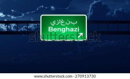 Benghazi Lybia Highway Road Sign at Night 3D artwork - stock photo