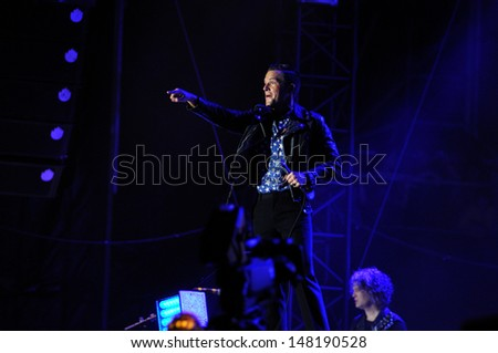 BENICASIM, SPAIN - JULY 21: The Killers band concert performance at FIB (Festival Internacional de Benicassim) 2013 Festival on July  21, 2013 in Benicasim, Spain.