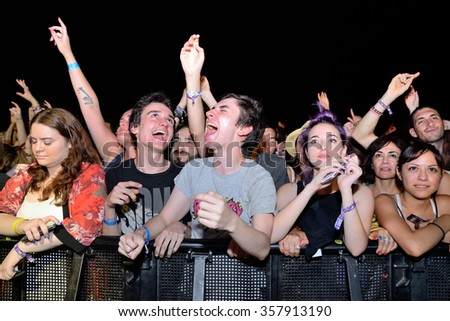 BENICASSIM, SPAIN - JUL 17: Crowd in a concert at FIB Festival on July 17, 2015 in Benicassim, Spain.