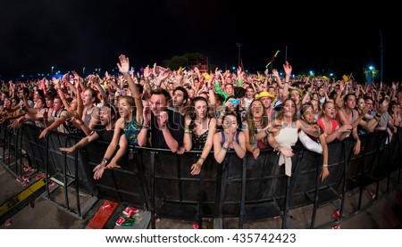 BENICASSIM, SPAIN - JUL 18: Crowd in a concert at FIB Festival on July 18, 2015 in Benicassim, Spain.