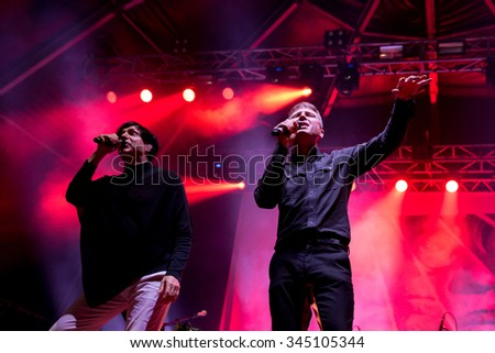 BENICASSIM, SPAIN - JUL 19: Franz Ferdinand and Sparks, band also known as FFS, in concert at FIB Festival on July 19, 2015 in Benicassim, Spain.