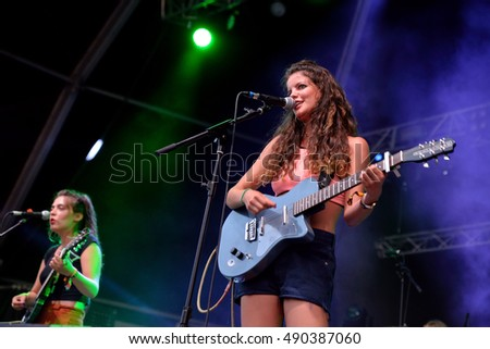 BENICASSIM, SPAIN - JUL 18: Hinds (band) in concert at FIB Festival on July 18, 2015 in Benicassim, Spain.