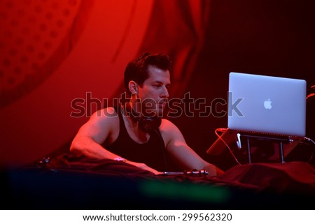 BENICASSIM, SPAIN - JUL 18: Mark Ronson (band) in concert at FIB Festival on July 18, 2015 in Benicassim, Spain. - stock photo