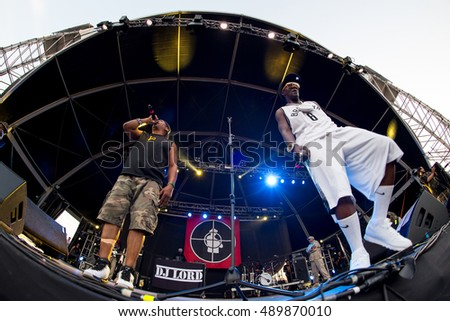 BENICASSIM, SPAIN - JUL 19: Public Enemy (hip hop group) in concert at FIB Festival on July 19, 2015 in Benicassim, Spain.