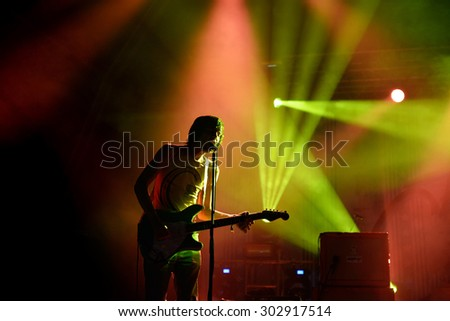 BENICASSIM, SPAIN - JUL 19: The Cribs (band) in concert at FIB Festival on July 19, 2015 in Benicassim, Spain. - stock photo