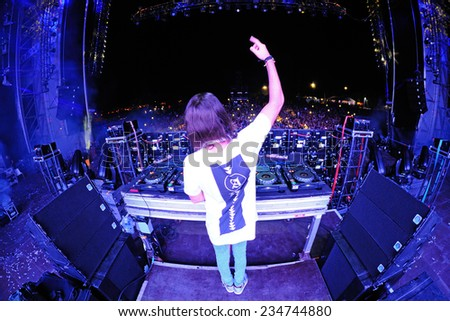 BENICASSIM, SPAIN - JULY 20: Alesso (Swedish DJ and electronic dance music producer) performs at FIB Festival on July 20, 2014 in Benicassim, Spain. - stock photo
