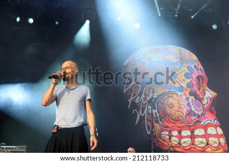 BENICASSIM, SPAIN - JULY 17: James (British rock band from Manchester) performance at FIB Festival on July 17, 2014 in Benicassim, Spain.