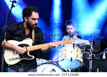 BENICASSIM, SPAIN - JULY 20: Jero Romero (Spanish band) in concert at FIB Festival on July 20, 2014 in Benicassim, Spain. - stock photo