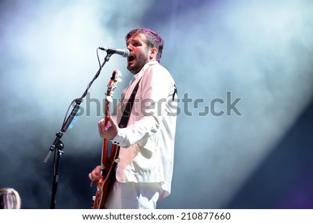 BENICASSIM, SPAIN - JULY 17: Klaxons (new rave indie rock band) concert at FIB Festival on July 17, 2014 in Benicassim, Spain.