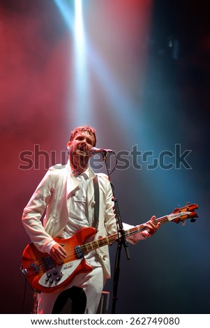 BENICASSIM, SPAIN - JULY 17: Klaxons (new rave indie rock band) concert at FIB Festival on July 17, 2014 in Benicassim, Spain. - stock photo
