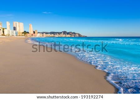 Benidorm Alicante playa de Poniente beach in spain Valencian community - stock photo
