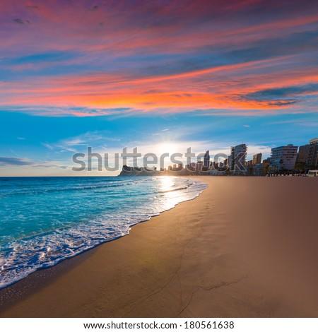 Benidorm Alicante playa de Poniente beach sunset in spain Valencian community - stock photo