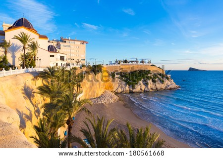 Benidorm Alicante playa del Mal Pas beach at sunset in Spain with palm trees - stock photo