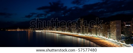 Benidorm at Costa Blanca night panorama. View from the end of levante beach.