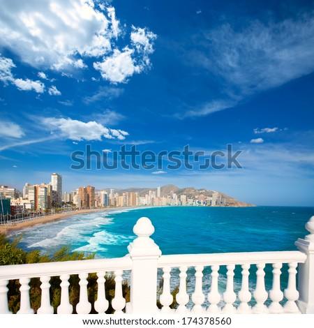 Benidorm balcon del Mediterraneo Mediterranean sea white balustrade in Alicante Spain - stock photo