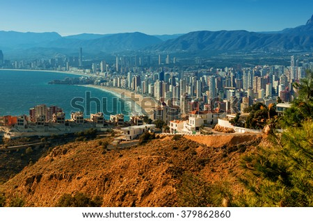 Benidorm cityscape. Benidorm is a coastal city in Alicante, Costa Blanca. Spain - stock photo