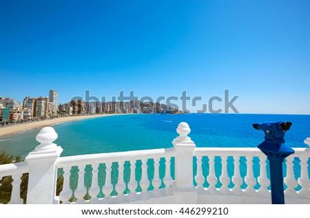 Benidorm Levante beach in Alicante Mediterranean of Spain - stock photo