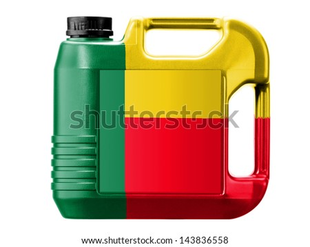 Benin. Benini flag  painted on gas can
