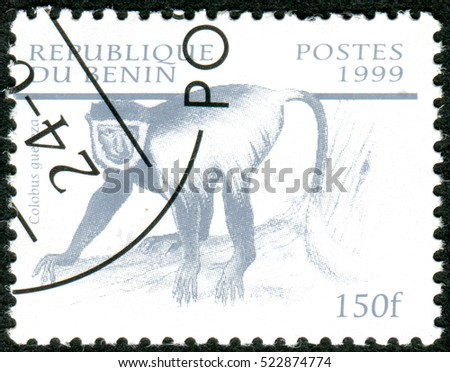 BENIN - CIRCA 1999: A stamp printed in Benin, shows the Guereza (Colobus guereza), circa 1999