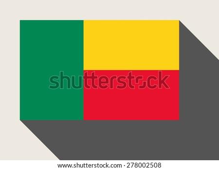 Benin flag in flat web design style. - stock photo