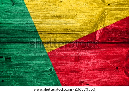 Benin Flag painted on old wood plank texture