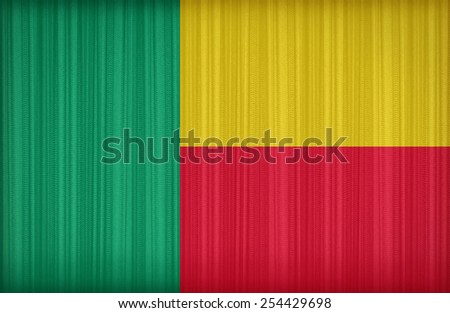 Benin flag pattern on the fabric curtain,vintage style - stock photo