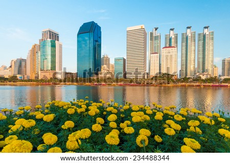 Benjakiti park city downtown with water reflection, Bangkok,Thailand  - stock photo