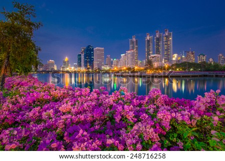 Benjakitti park Bangkok downtown city, Thailand - stock photo
