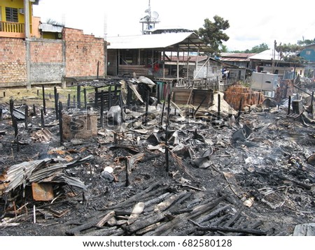 Benjamin Constant, on Dec 19 2009. Fire destroys shopping center in Benjamin Constant, Amazonas Brazil