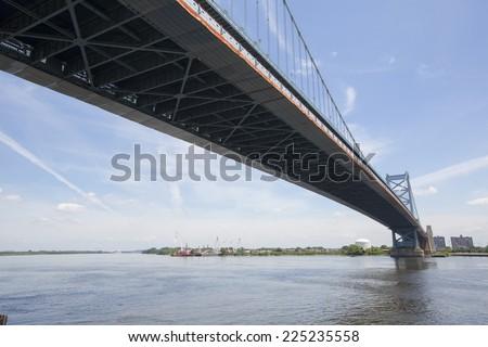 Benjamin  Franklin Bridge in Philadelphia, Pennsylvania, America. - stock photo