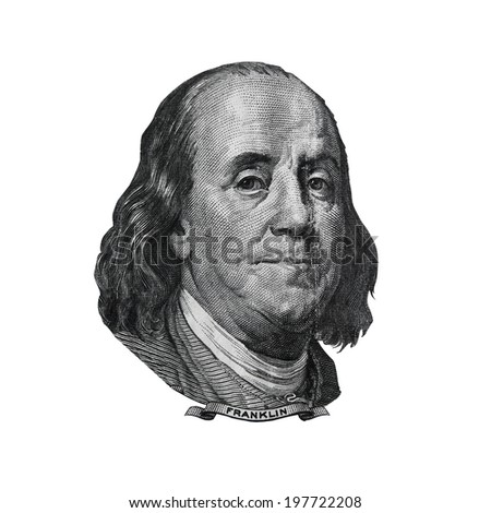Benjamin Franklin cut out from USA hundred dollars bill. Portrait of american statesman, inventor and diplomat. - stock photo