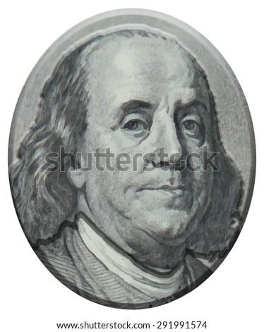 Benjamin Franklin 3D portrait - stock photo