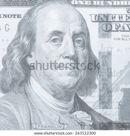 Benjamin Franklin depicting in the US$100 Bill. Franklin's image cropped from the image of the front of a U.S. $100 Federal Reserve note. Instagram effect - stock photo
