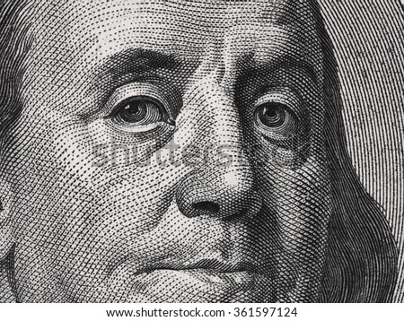 Benjamin Franklin face on us one hundred dollar bill macro, united states money closeup - stock photo