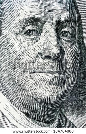Benjamin Franklin From Dollar Bill, One Hundred Dollar - stock photo